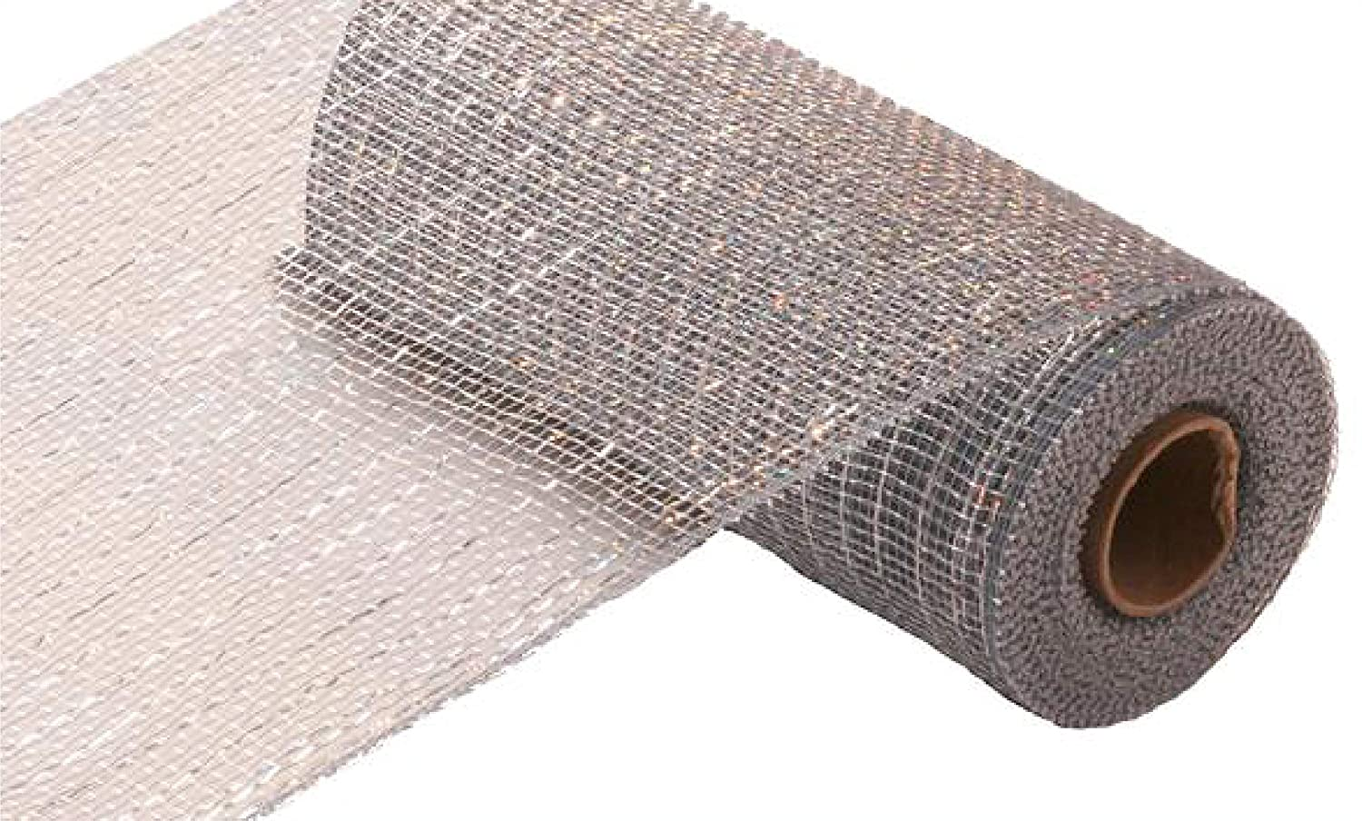 10 inch x 30 feet Deco Poly Mesh Ribbon RE1301E2 Metallic Chocolate Brown and Copper
