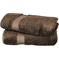 BC BARE COTTON Luxury Hotel & Spa Towel Turkish Cotton Rayon Bath Set of 2, Cocoa, 2 Piece