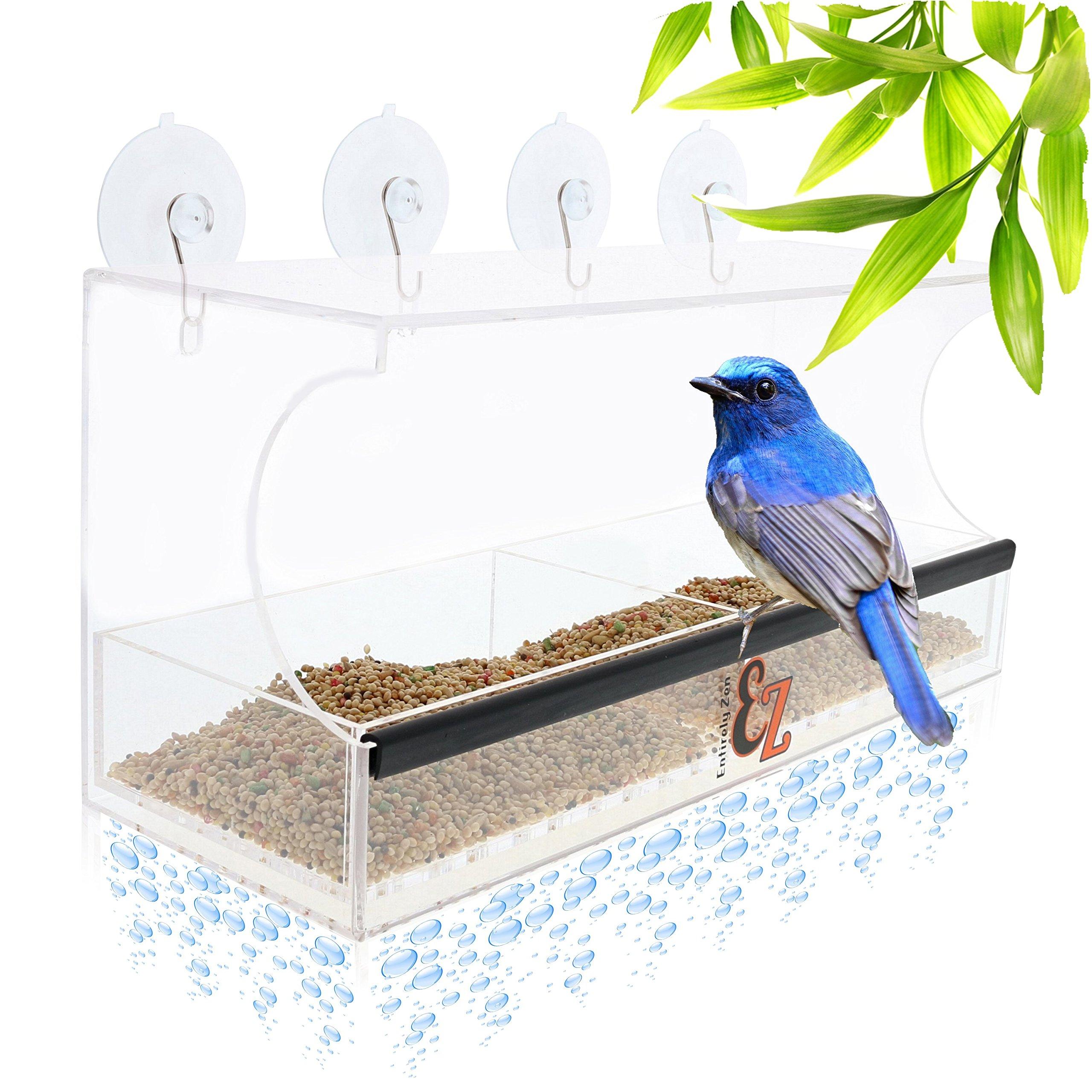SUPERIOR Window Bird Feeder by Entirely Zen Includes Bonus Mirror Film, 5 Super Strong Suction Cups That Don't Fall; 100% Clear Outside Wild Bird Viewing, Cardinal, Bluebird, Large Bird Feeder