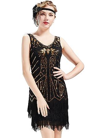 ArtiDeco Años 20 Estilo Vintaje Vestido con Cuello en V Gatsby Disfraz Vestido con Flecos de Lentejuelas (Negro Dorado, XL/UK 18/EU 46)