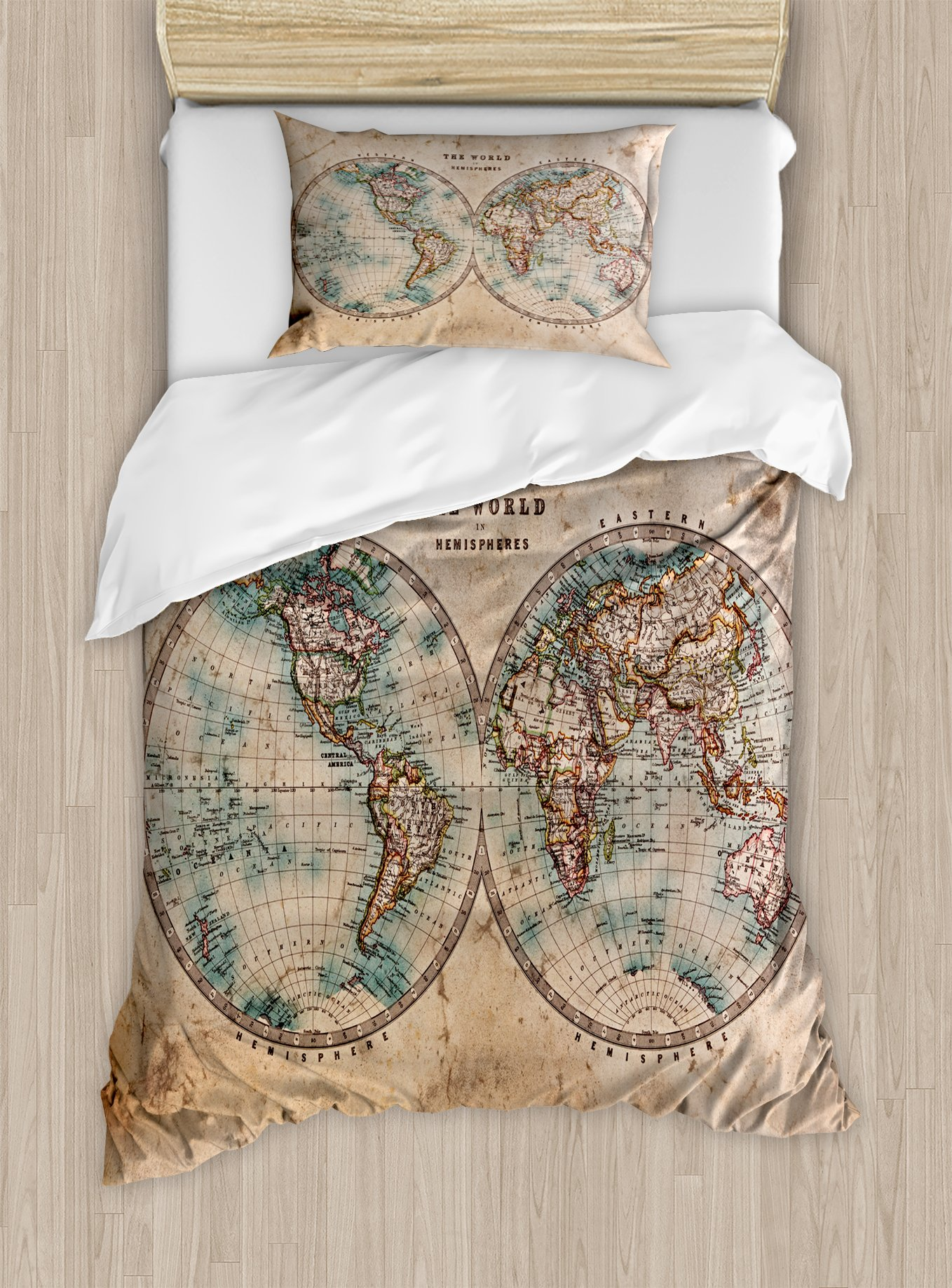 World Map Duvet Cover Set by Ambesonne, The World in Hemispheres Vintage Old Map Design Geography History Theme, 2 Piece Bedding Set with Pillow Sham, Twin / Twin XL, Burly Wood Tan Blue