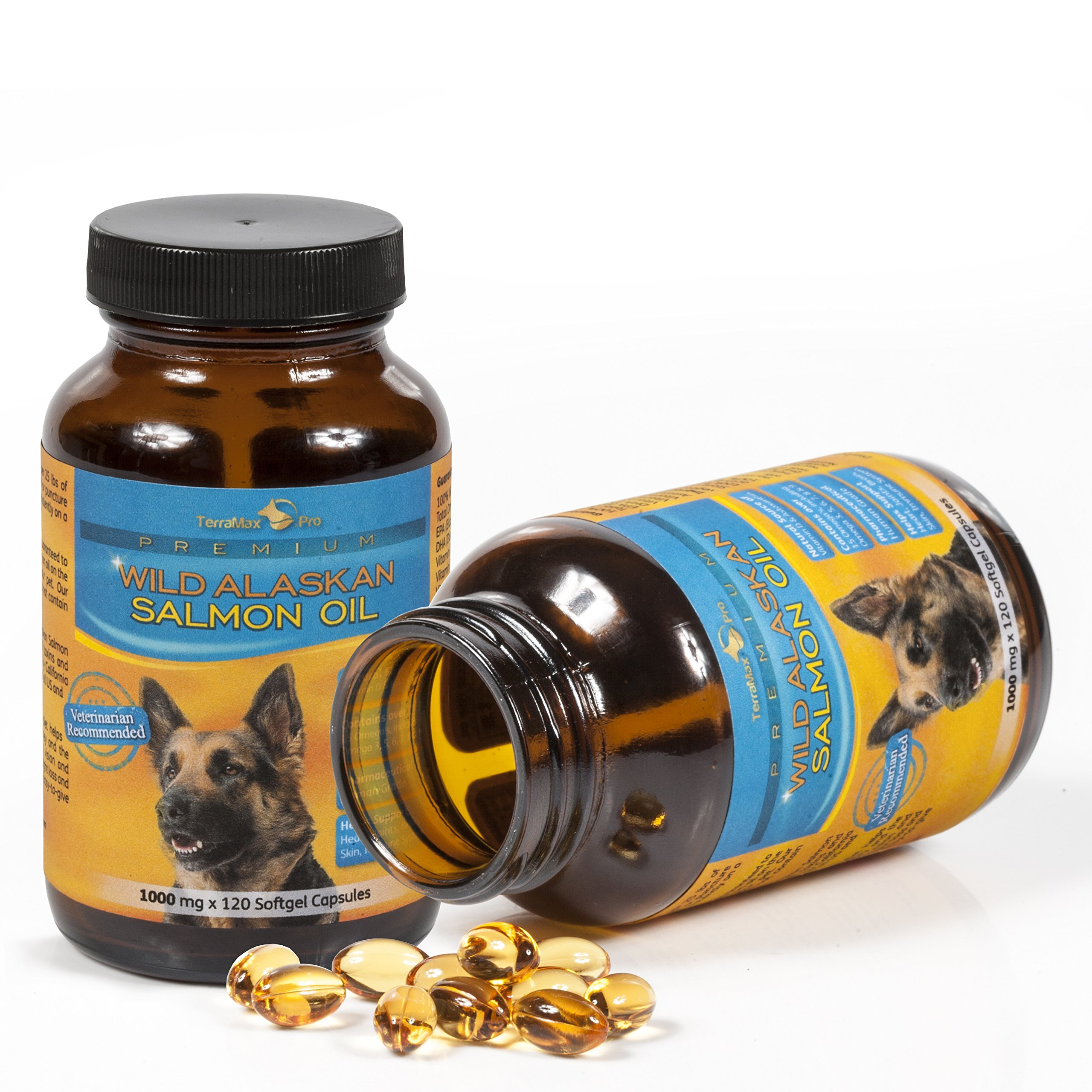 Premium Wild Alaskan Salmon Oil for Dogs and Cats | All-Natural Omega-3 Food Supplement | over 15 Omega's | EPA - DHA Fatty Acids | Natural Astaxanthin - Vitamin D | (1000 mg | 120 Soft Gel Capsules) by TerraMax Pro