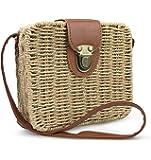 Hoxis Retro Straw Portable Small Box Woven Womens Cross Body Bag Shoulder Messenger Satchel