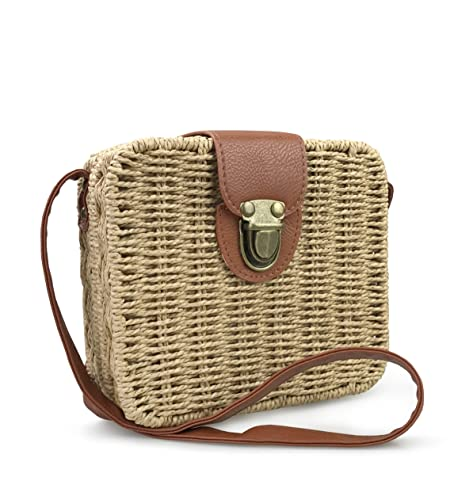 fc0a60f3481f Amazon.com  Hoxis Retro Straw Portable Small Box Woven Womens Cross Body  Bag Shoulder Messenger Satchel (Brown)  Shoes