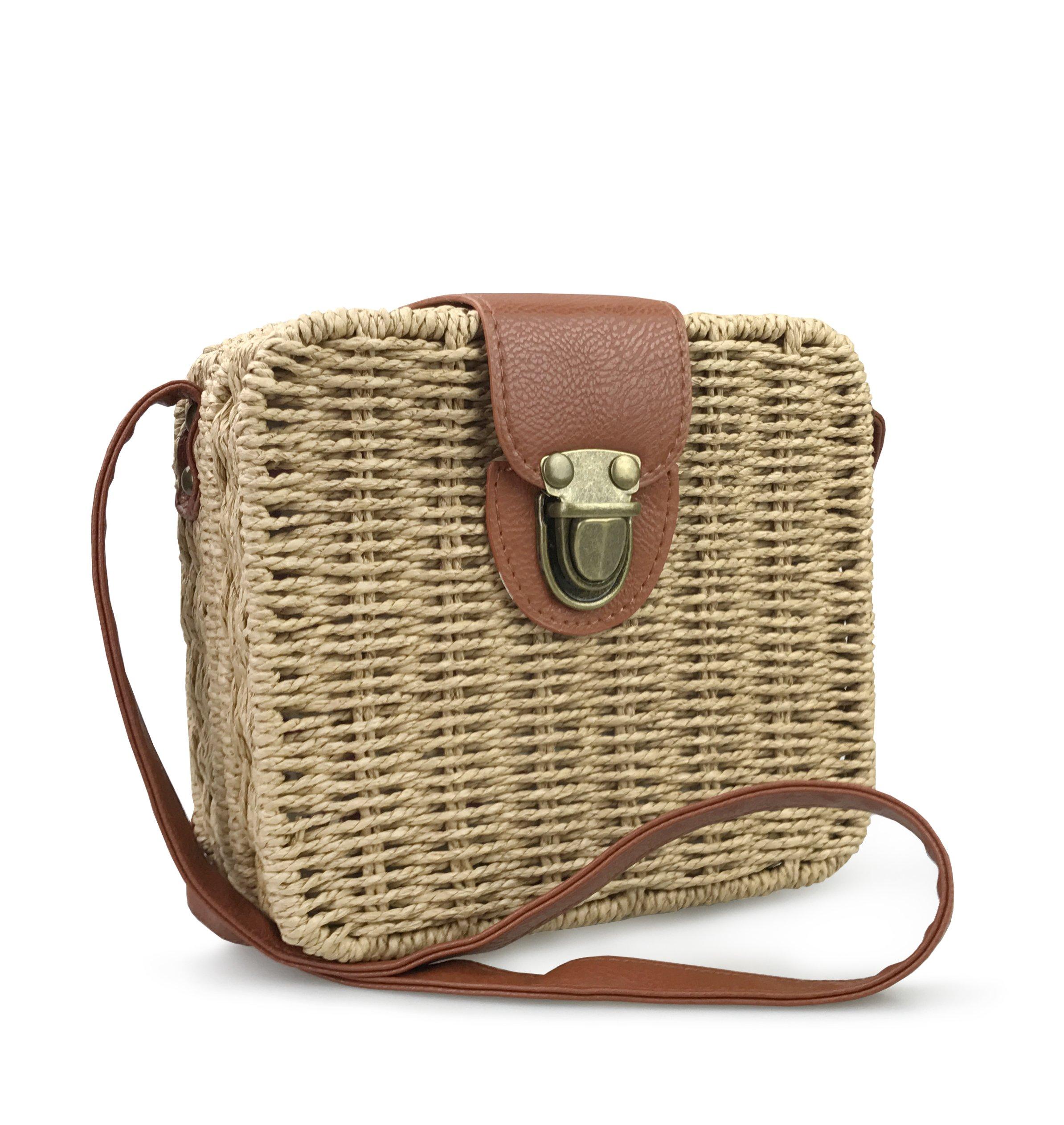 Hoxis Retro Straw Portable Small Case Womens Cross Body Bag Shoulder Messenger Satchel (Brown)