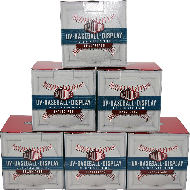6 Baseball Cubes 6 BallQube Square Baseball Display Holder w//Stand UV Protection New Lot Set