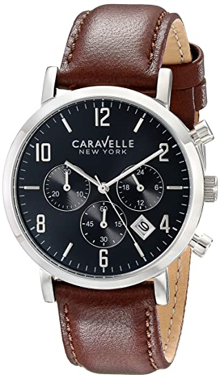 5dddfe00ed5 Bulova 43B140 Caravelle New York Men s Quartz Chronograph Watch with Black  Dial and Brown Leather Strap  Amazon.ca  Watches