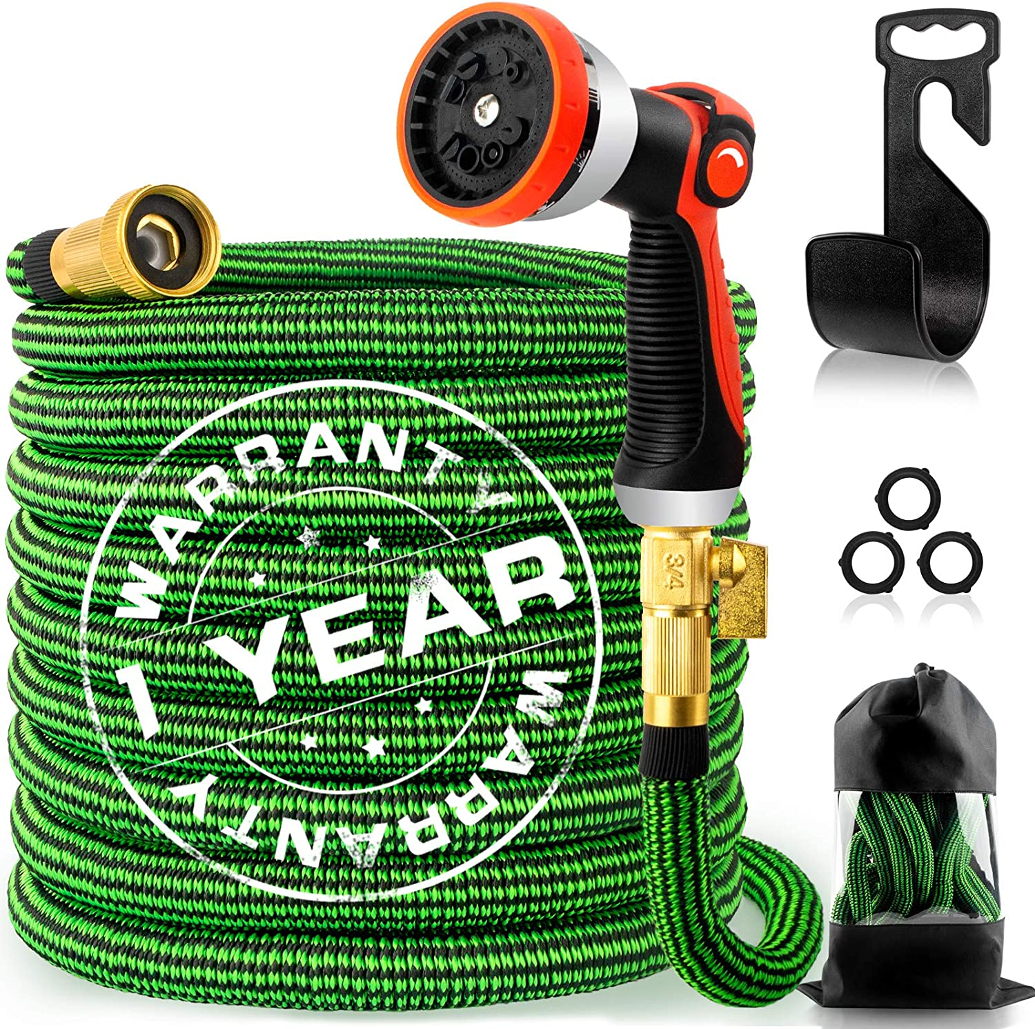 75ft Expandable Garden Hose, Flexible Water Hose with 10 Function Nozzle, 4-Layer Latex Core and 3/4