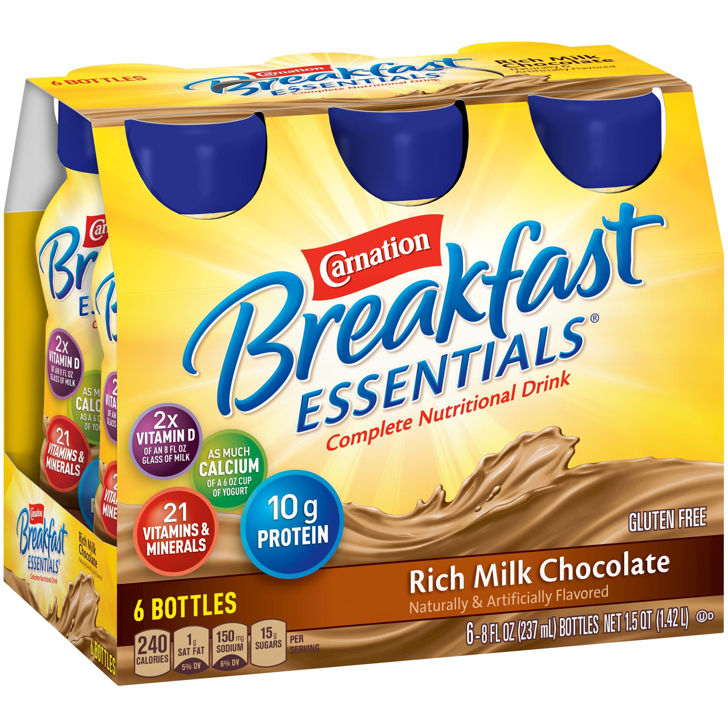 Carnation Breakfast Essentials Ready-to-Drink, Rich Milk Chocolate, 8 fl oz Bottle, 24 Pack by Carnation Breakfast Essentials