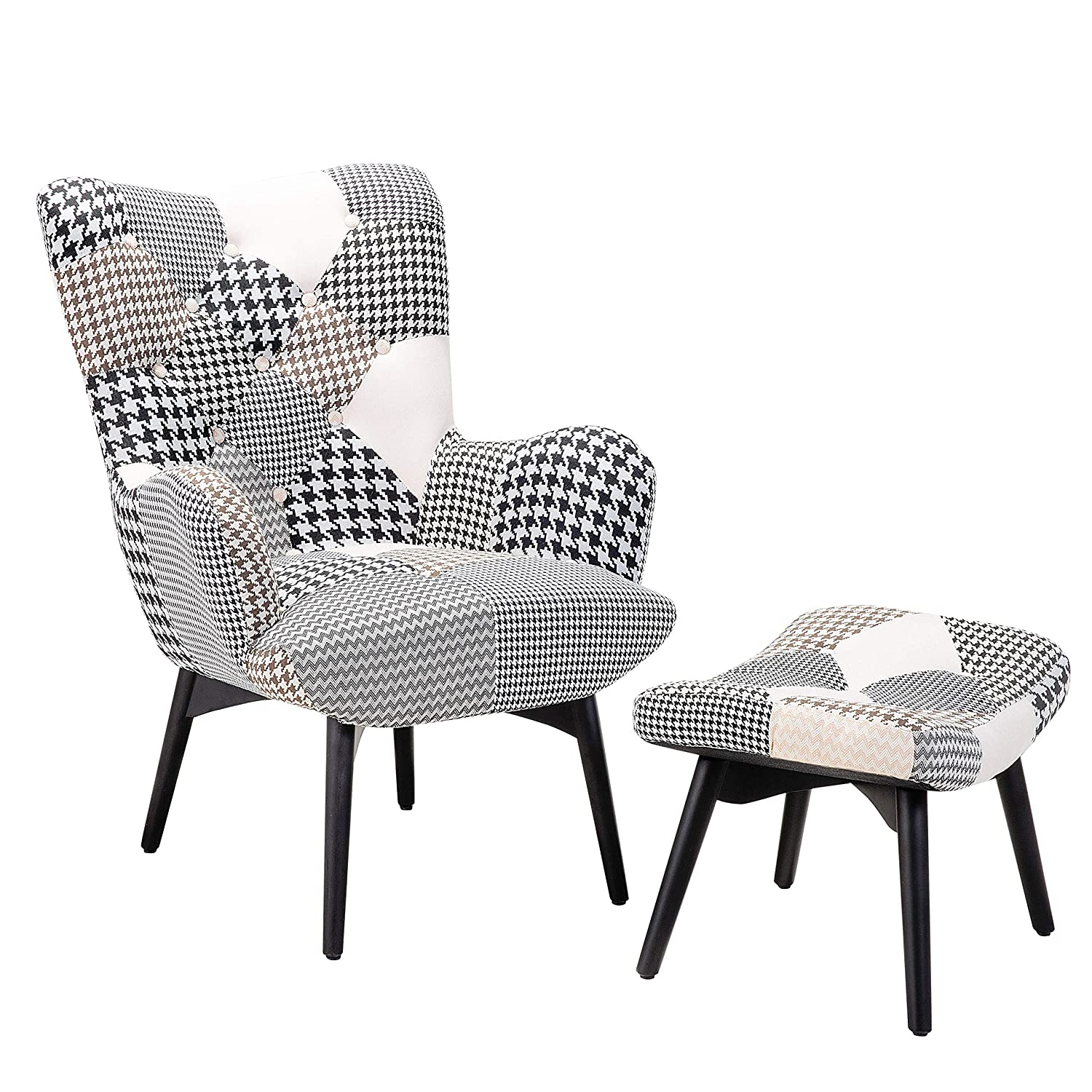 Beliani Armchair White and Black - Settee - Seat - Upholstered Armchair with Ottoman - VEJLE