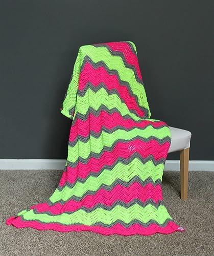 Amazon Chevron Afghan Throw Blanket Crochet Neon Pink Neon Cool Pink Chevron Throw Blanket