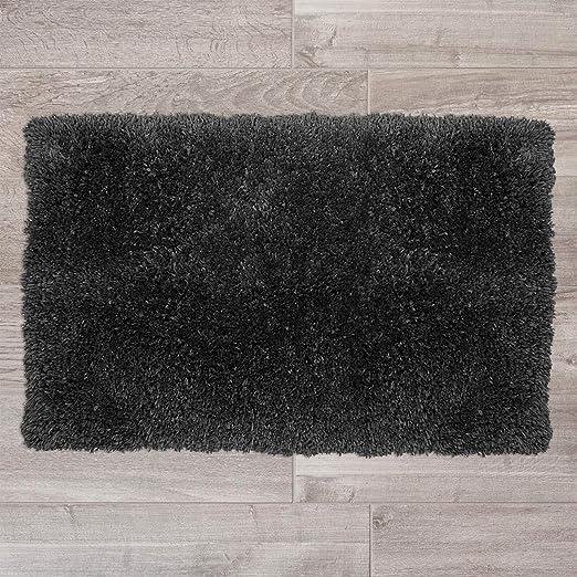 Machine Washable Super Soft Microfiber Rug Small and Medium Nestl Bedding Set of 2 Shaggy Rug with Non-Slip Rubber Backing Plush Absorbent Bath Rug Black