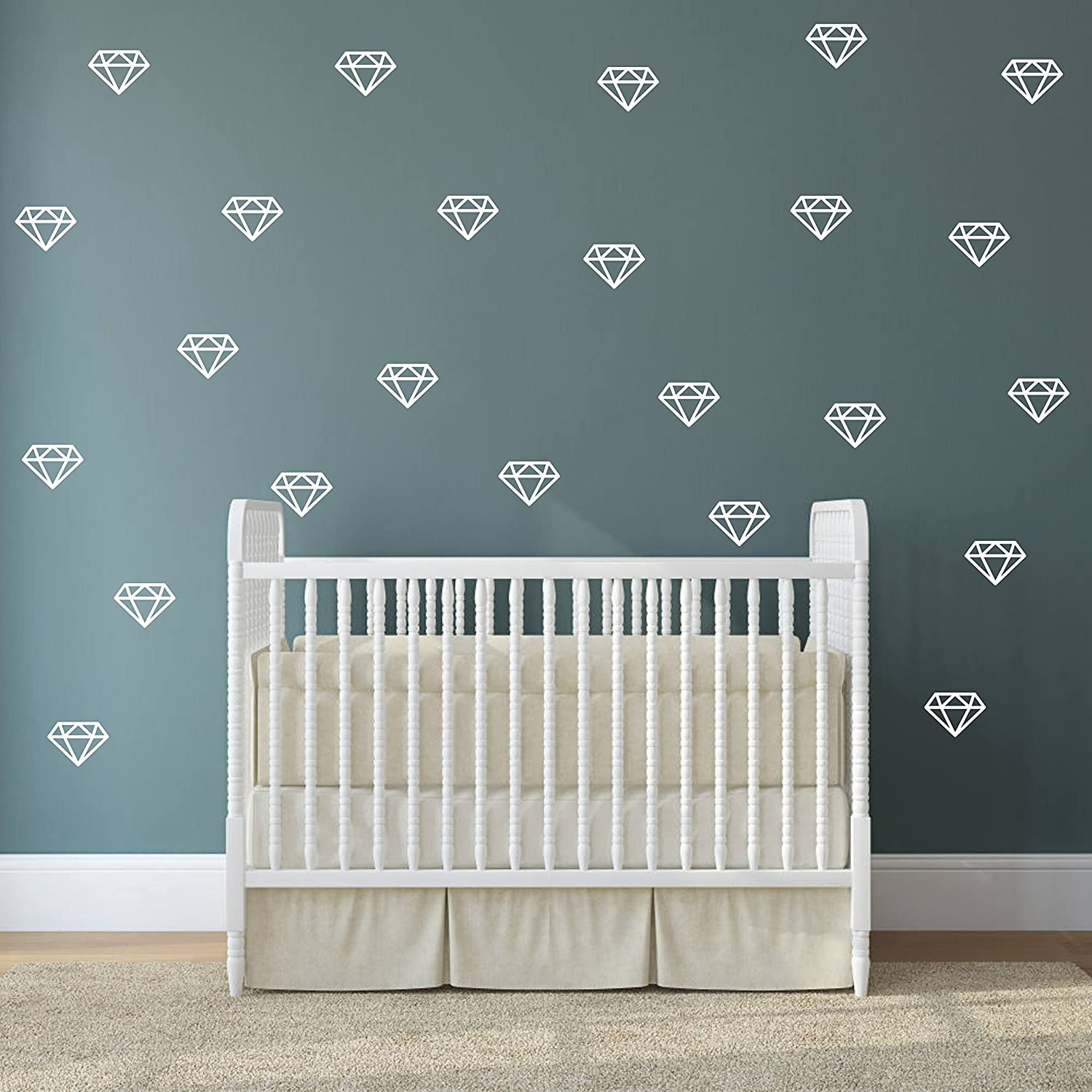 Geometric Decor,Vinyl Wall Stickers for Baby Kids Bedroom Nursery Decoration Diamond Wall Decals,Wall Art A15 White