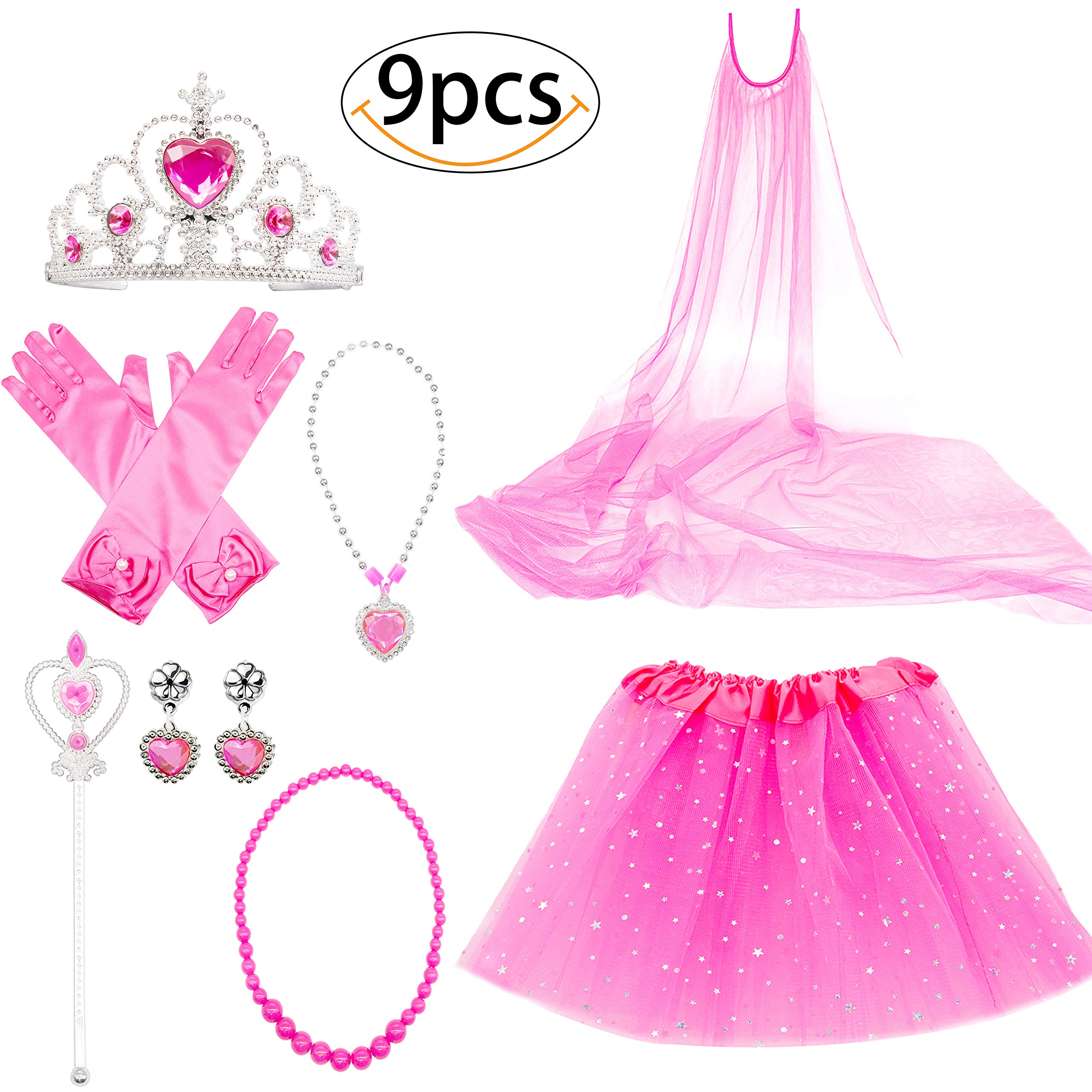 Princess Dress Up Costume Accessories Aurora Set For Princess cosplay Gloves Tiara Wand and Necklace (9 Pieces)