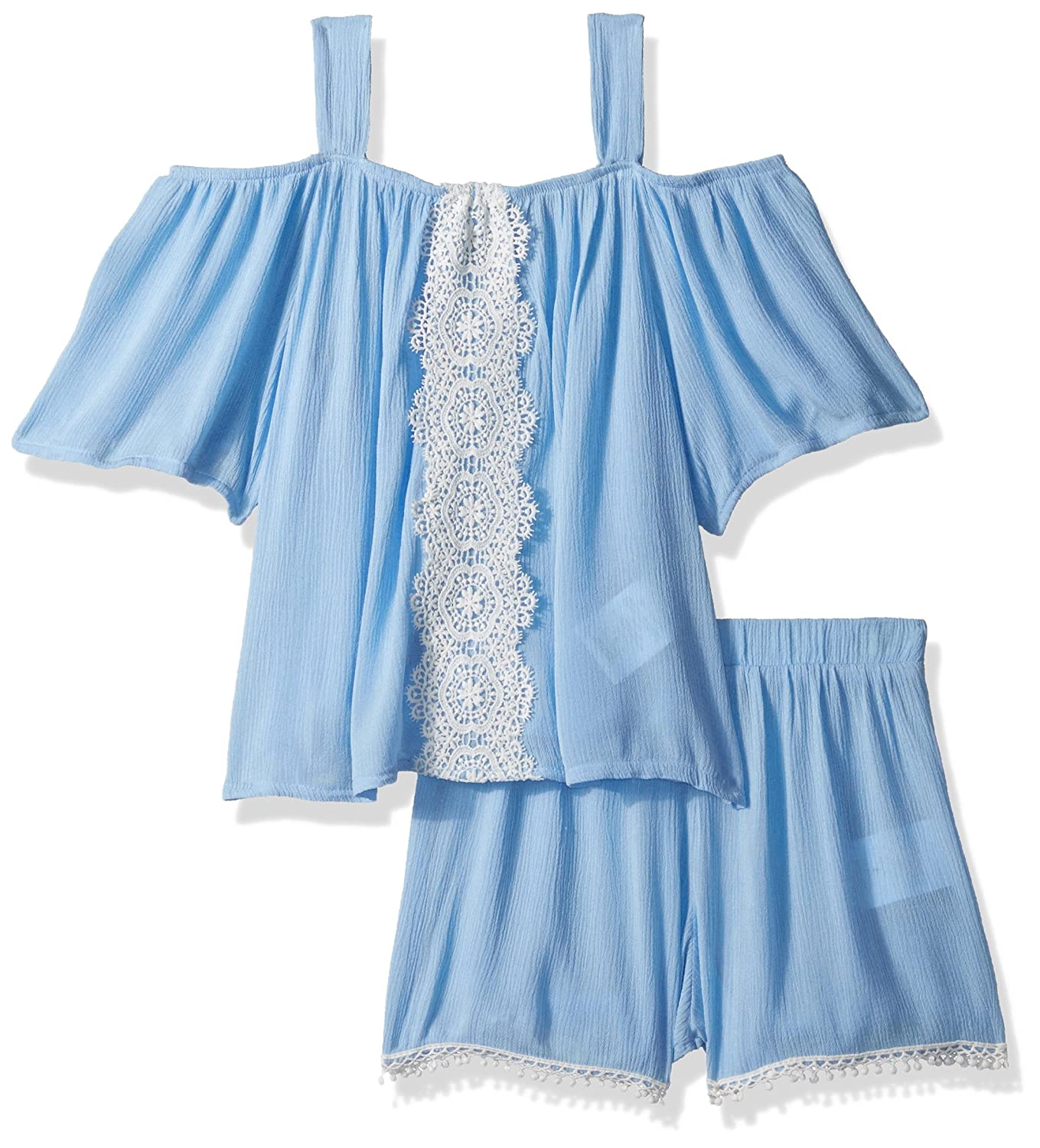 My Michelle girls Big Girls Two Piece Set With Cold Shoulder and Crochet Trim 4913TP1G