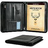 Wundermax Padfolio Portfolio with Bonus Writing Pad, Professional Interview PU Leather Padfolio with Zippered Closure, Interior 10.1 Inch Tablet Sleeve