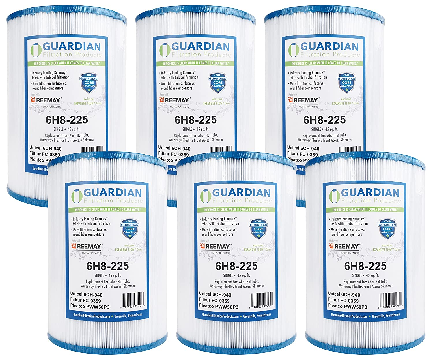 (6) Guardian Pool Spa Filter Replaces Unicel 6CH-940--Filbur FC-0359--Pleatco Pww50P3 Guardian Filtration Products 6H8-225-06