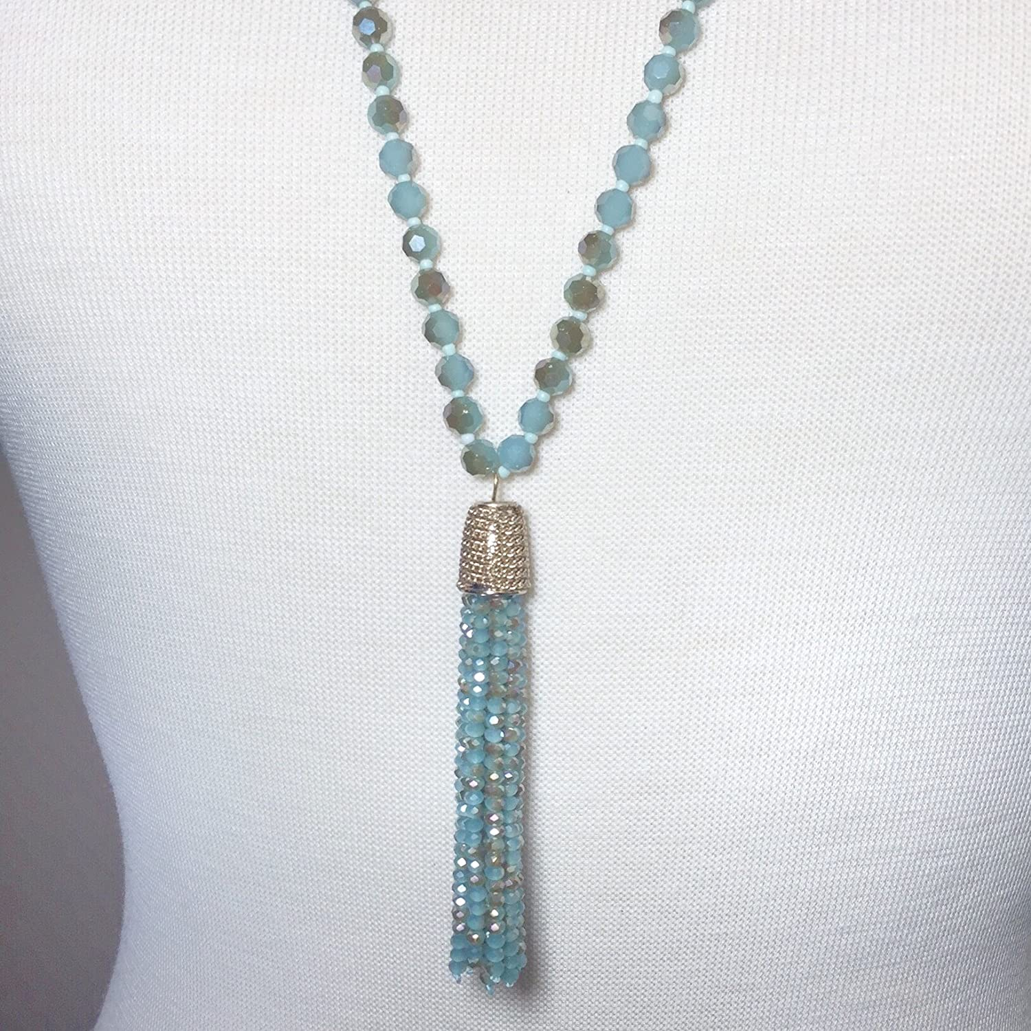 Long Glass Beaded Tassel Fringe Boutique Style Necklace Gypsy Jewels A1