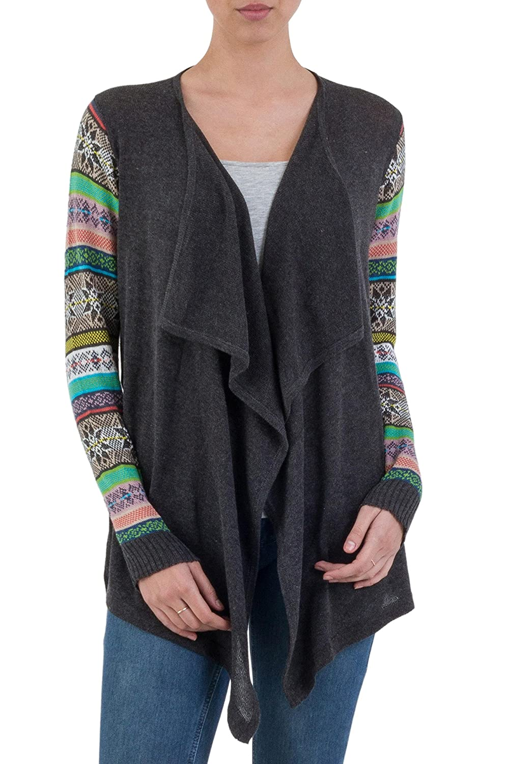 NOVICA Blue Cotton Blend Open Front Cardigan, 'Grey Southern Star'