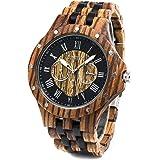 Bewell 木製腕時計 メンズ 多針アナログ クオーツ 日付曜日表示 夜光 軽量耐水 男性用 天然木 腕時計 贈り物