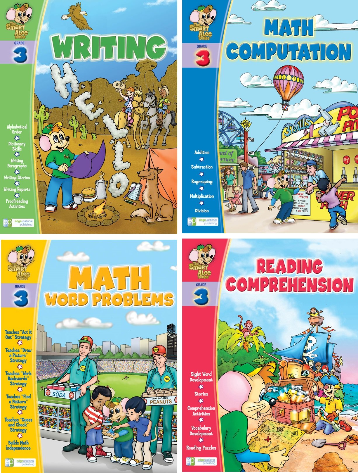 Smart Alec (3rd Grade) Four Pack Learning Series, Includes: Writing, Math Readiness, Reading Readiness, Math Word Problems by Edgeucational Publishing (Image #1)