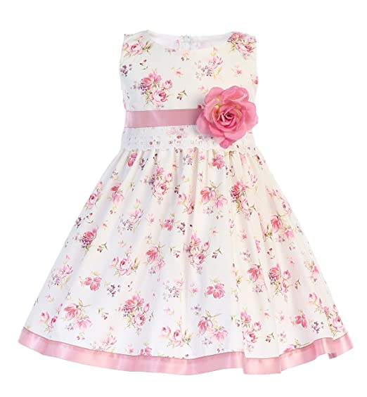 fb85eed0c1b45 Lito Girls Easter Dress - Cotton Floral Print Easter Dress - Cotton Spring  Dress (2T