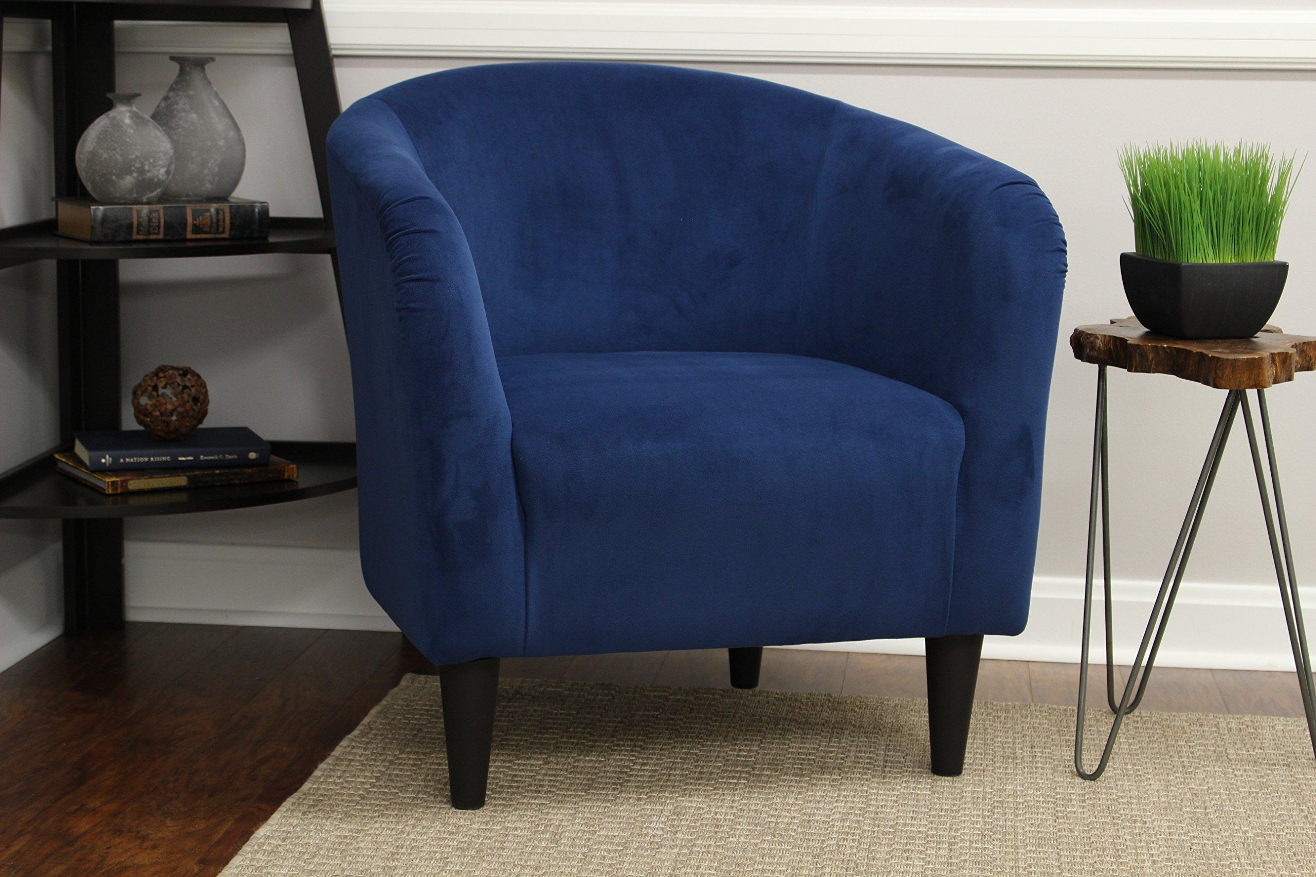 Mainstays Microfiber Tub Accent Chair (Navy Blue)