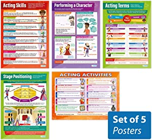 "Acting Skills Posters - Set of 5 | Drama Posters | Gloss Paper Measuring 33"" x 23.5"" 