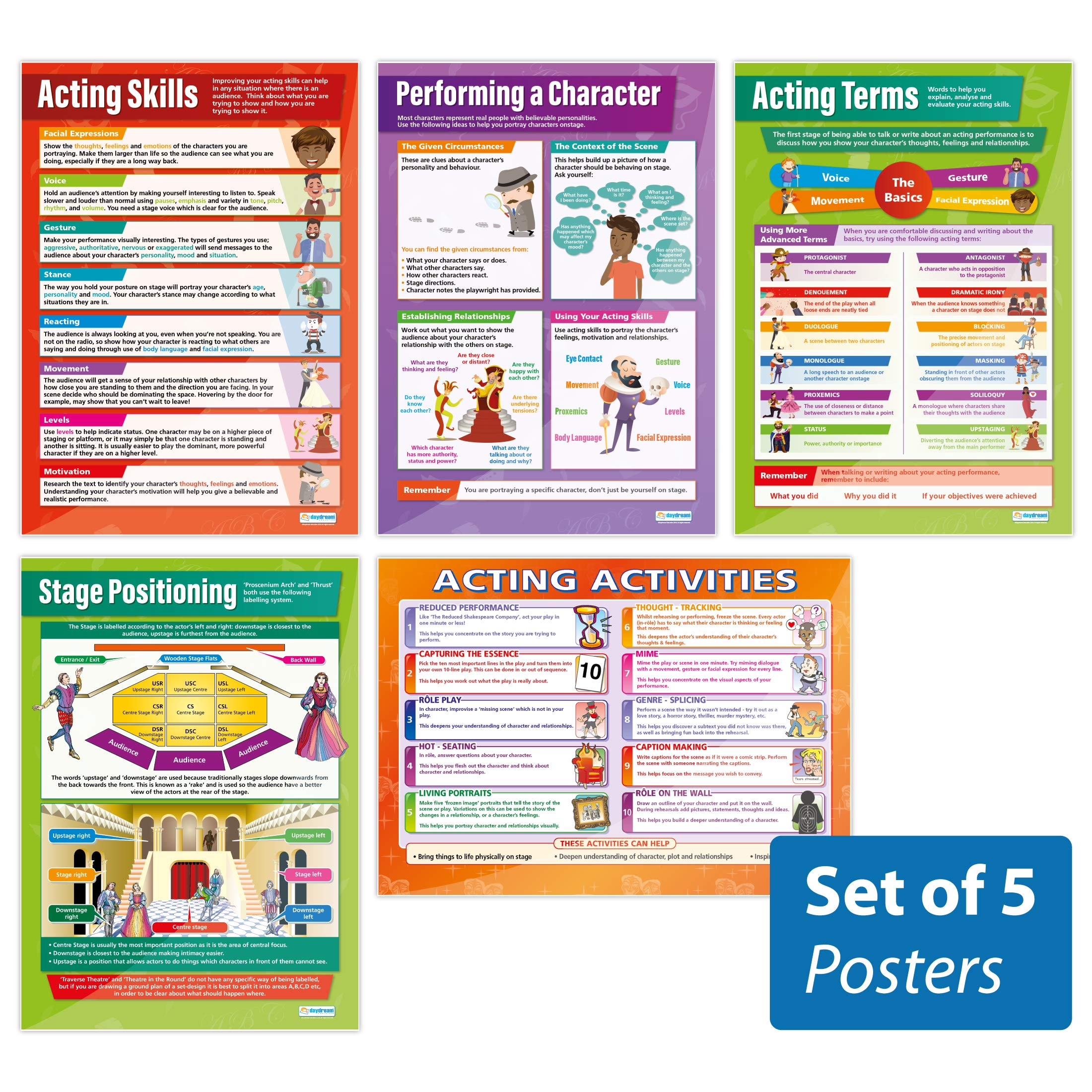 Acting Skills Posters - Set of 5 | Drama Posters | Gloss Paper Measuring 33'' x 23.5'' | Theater Posters for The Classroom | Education Charts by Daydream Education by Daydream Education