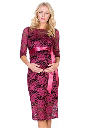 68b96375c3c5d My Bump Women's Premium Lace Baby Shower Party Maternity Dress(Made in USA)  (