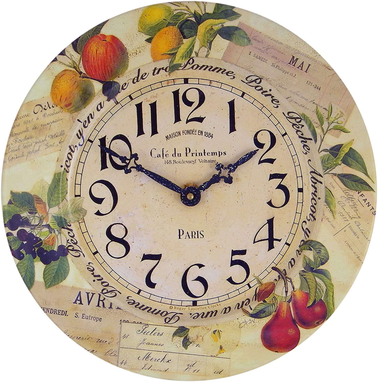Amazon roger lascelles tin fruits wall clock 136 inch home amazon roger lascelles tin fruits wall clock 136 inch home kitchen amipublicfo Gallery