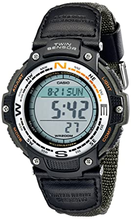 Casio Men S Sgw100b 3v Digital Compass Twin Sensor Green Nylon Band Sport Watch