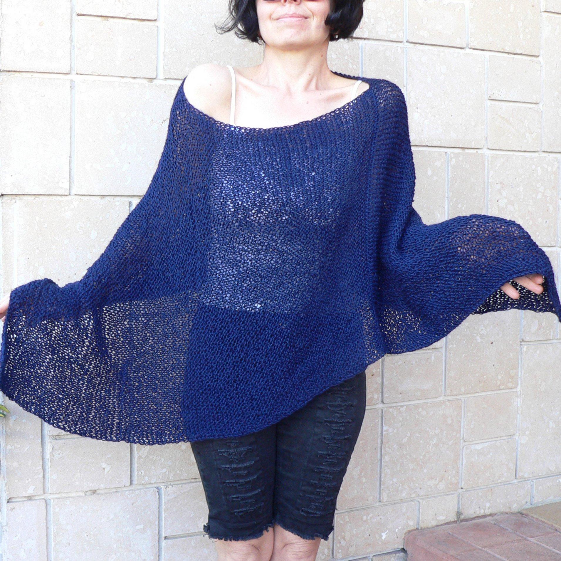 Dark blue poncho tunic #044F