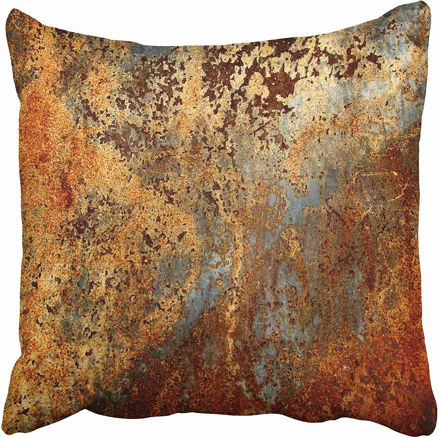 Emvency Throw Pillow Covers Cases Decorative 20x20 Inch Brown Rust Colorful Metal Rusty Steel Iron Structure Wall Door Two Sides Print Pillowcase Case Cushion Cover