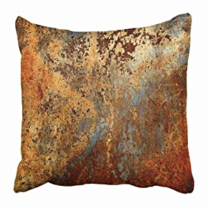Emvency Throw Pillow Covers Cases Decorative 16x16 Inch Brown Rust Colorful Metal Rusty Steel Iron Structure Wall Door Two Sides Print Pillowcase Case Cushion Cover
