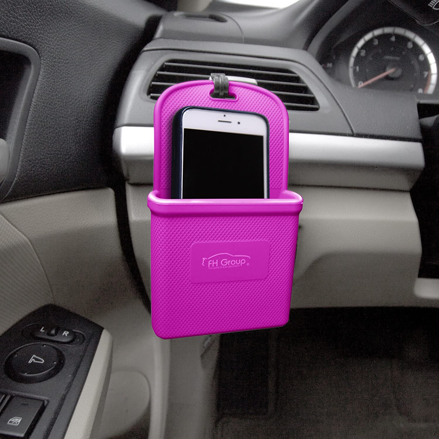 FH Group FH3022HOTPINK Hot Pink Silicone Car Vent Mounted Phone Holder (Smartphone works with IPhone Plus Galaxy Note Hot Pink Color)