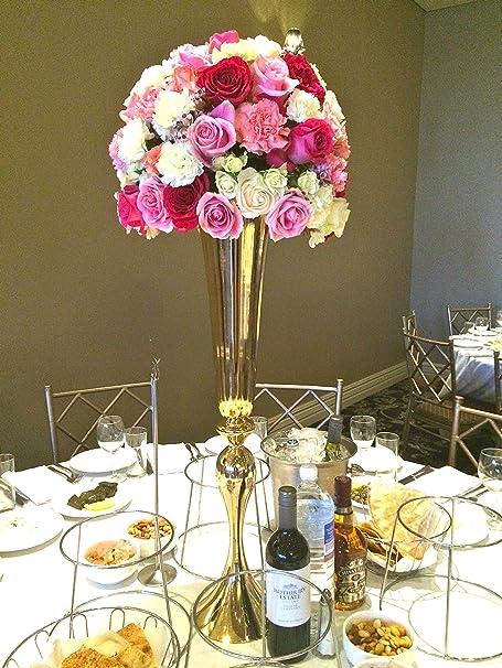 Everbon Jarrones de metal dorado para decoración de bodas, mesas ...