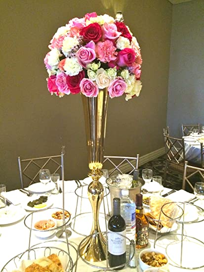 Image Unavailable & Amazon.com: Everbon Set of 10 Gold Metal Flower Vases Centerpiece ...