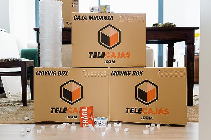 Cajas de cartón tamaño Estándar Mudanzas Doble Pared Asas EXTRAFUERTES TeleCajas X10TCM (x10) Lote de 10 unidades (55x35x40 cms)