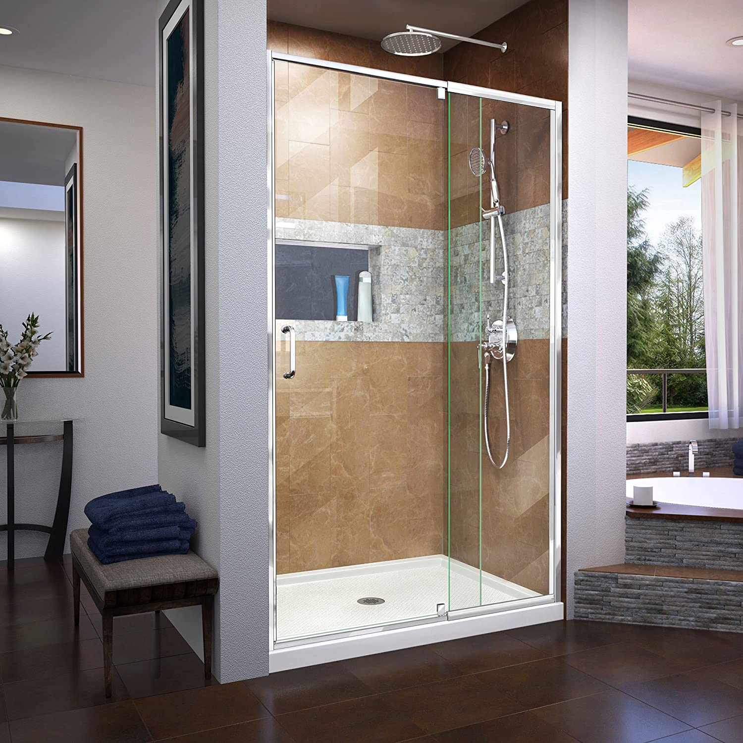 DreamLine SHDR-22427200-01 Flex 38-42 in. W x 72 in. H Semi-Frameless Pivot Shower Door in Chrome