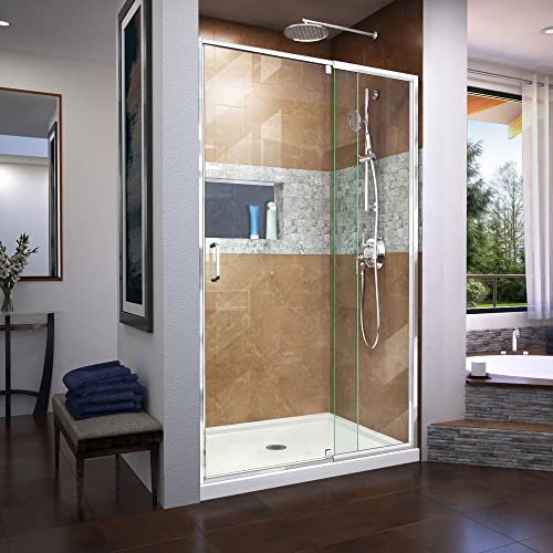 DreamLine Flex 44-48 in. W x 72 in. H Semi-Frameless Pivot Shower Door in Chrome, SHDR-22487200-01