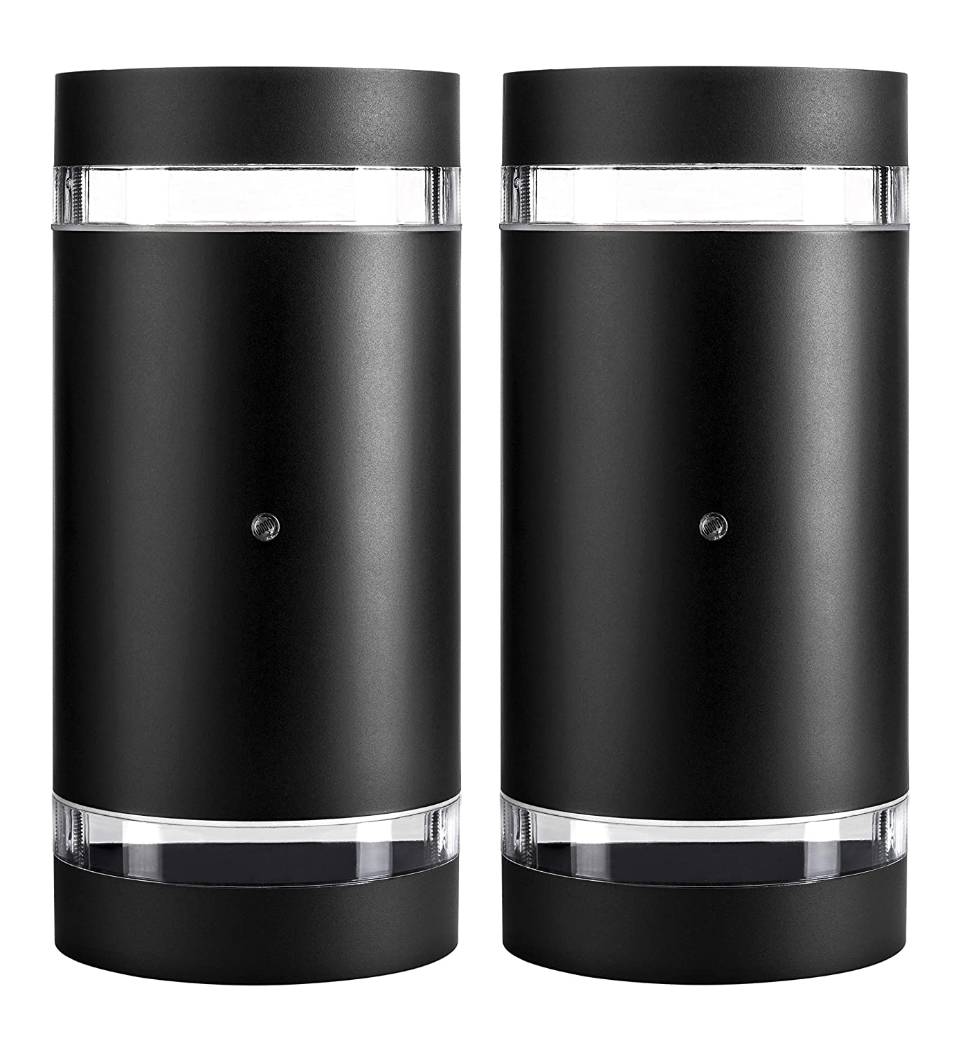 Hyperikon LED Porch Sconce Cylinder Light 12W, Black Modern Wall Mount with Photocell, 1000 lumen, 4000K (Daylight Glow), IP65 Waterproof Outdoor Up Down Light (2 Pack)