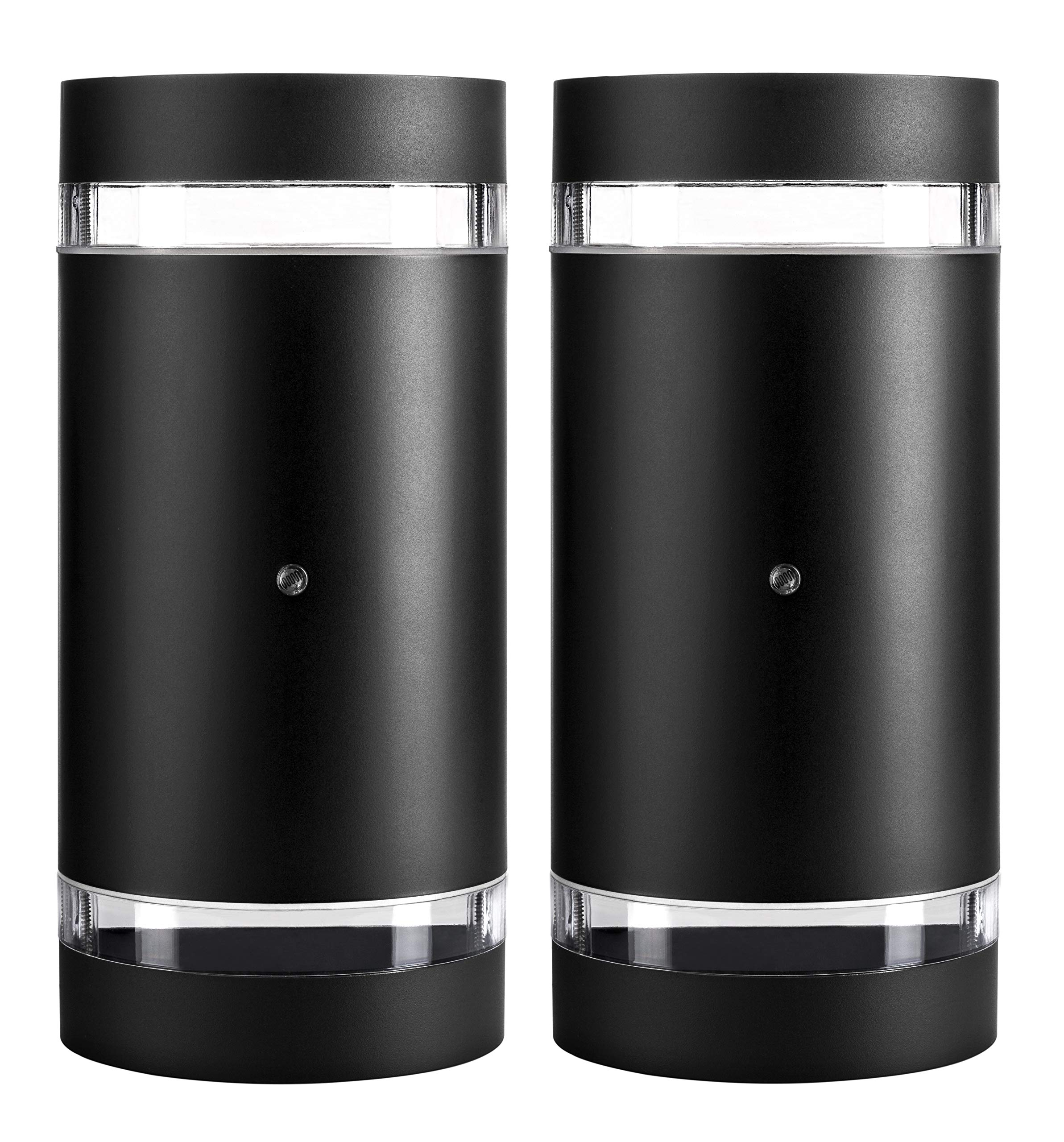 Hyperikon LED Porch Sconce Cylinder Light 12W, Black Modern Wall Mount with Photocell, 1000 lumen, 4000K (Daylight Glow), IP65 Waterproof Outdoor Up Down Light (2 Pack) by Hyperikon