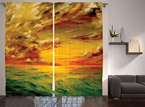 Ambesonne Landscape Curtains, Mystical View Sunset Off The Coast of California Slightly Wavy Sea View, Living Room Bedroom Window Drapes 2 Panel Set, 108