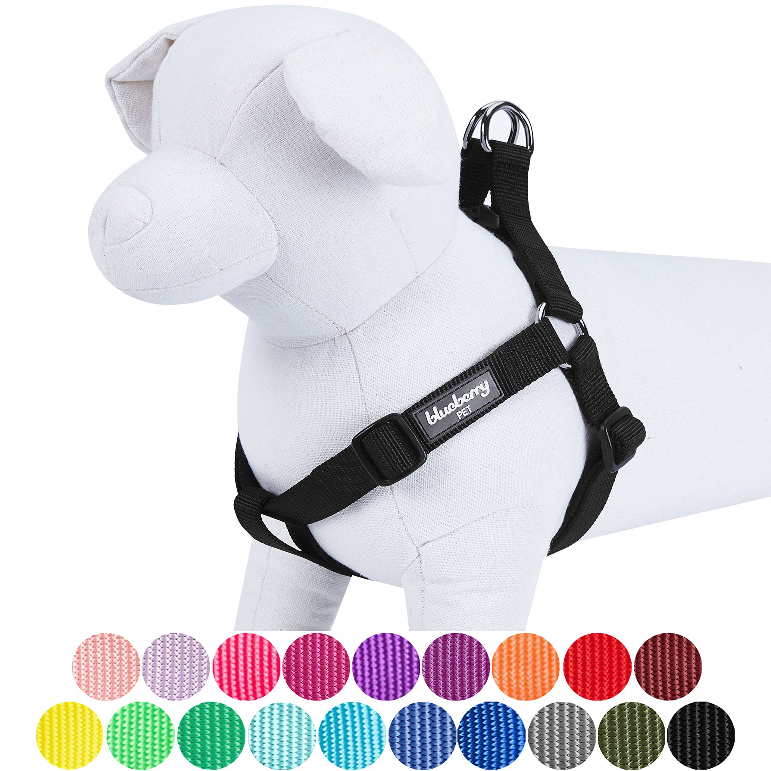 Blueberry Pet 19 Colors Step-in Classic Dog Harness, Chest Girth 20'' - 26'', Black, Medium, Adjustable Harnesses Dogs