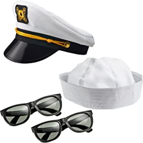NJ Novelty - Yacht Captain Hat, Boat Sailor Ship Skipper Cap Adult Costume Accessory
