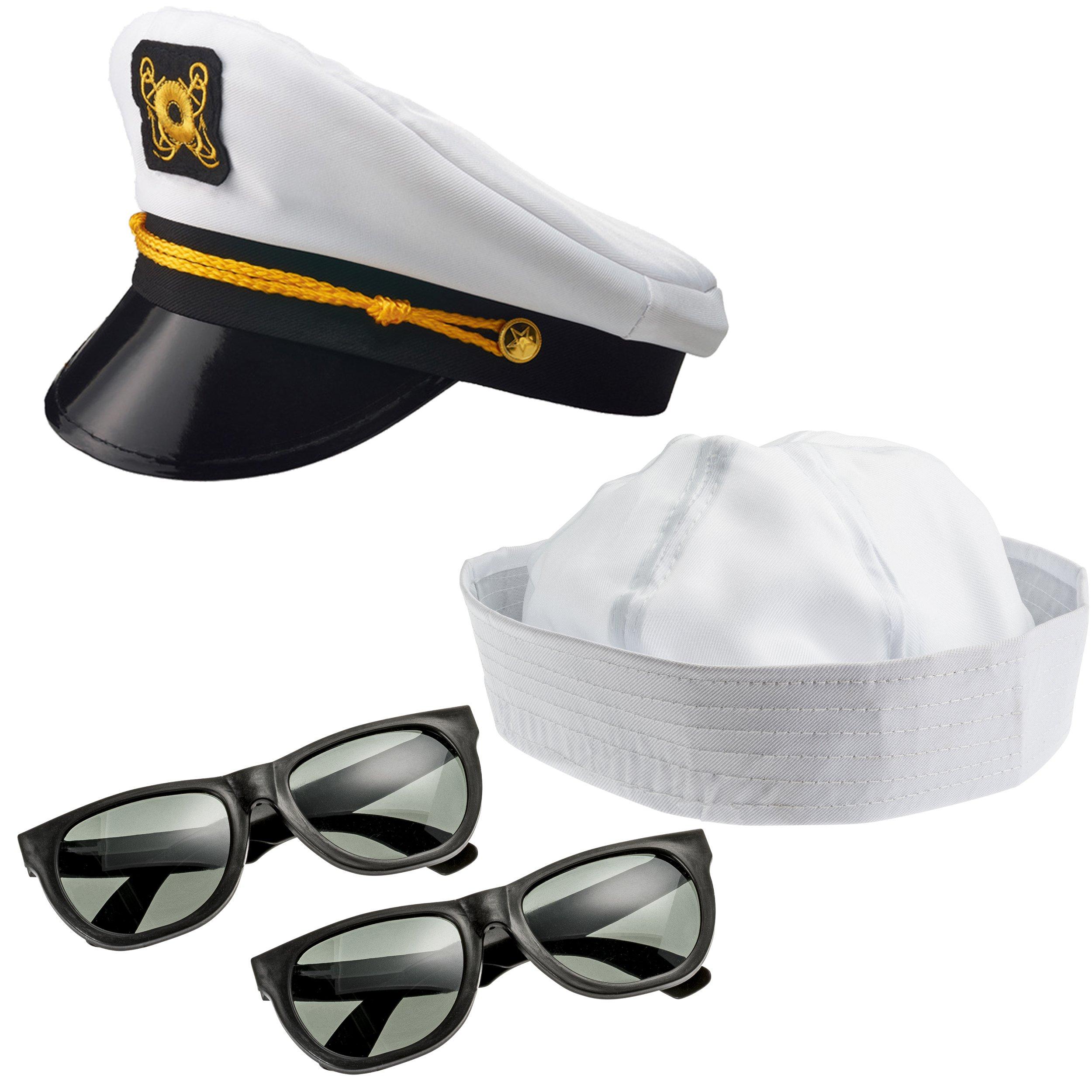 NJ Novelty Sailor Hat, Yacht Captain Hat and Sun Glasses 4 Piece Set, Adult Costume Accessories Dress up Party Hats
