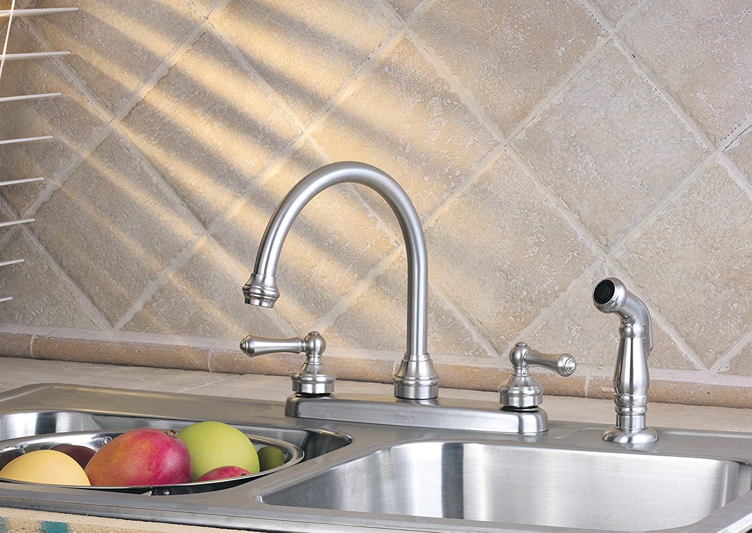 1.8 gpm Stainless Steel Pfister LF8H685SS Savannah 2-Handle Kitchen Faucet with Side Spray