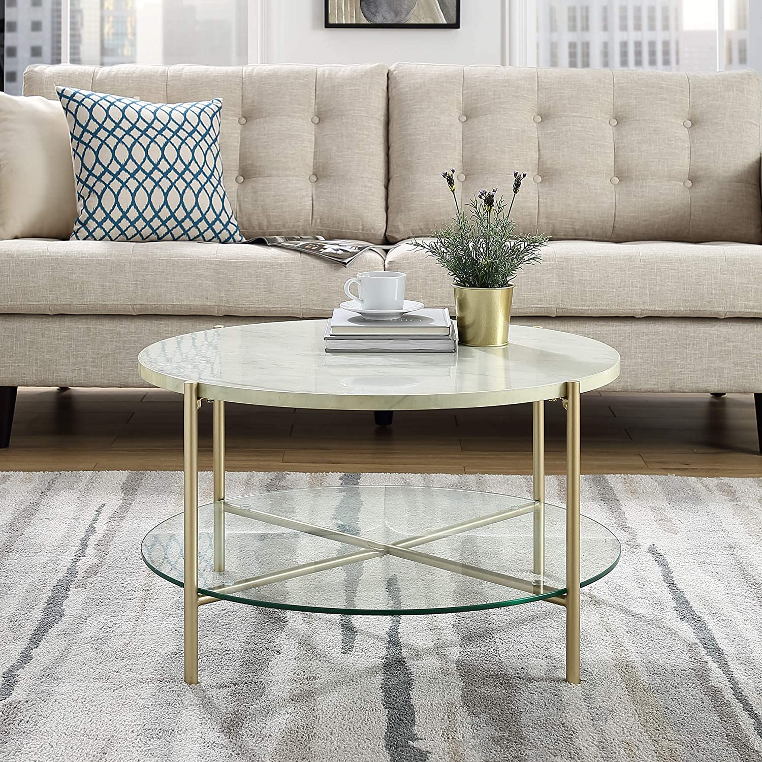 Amazon com we furniture azf32srdctmgd coffee table 32 faux white marble gold kitchen dining