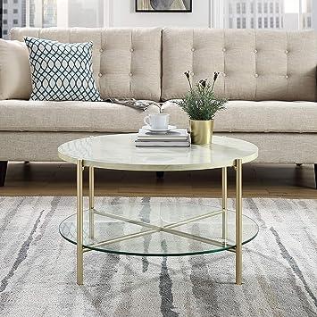 Wir Möbel 813 Cm Rund Couchtisch Marmor Top Mit Glas Ablage Weiß